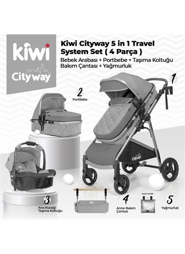 Kiwi City Way 5 in 1 Bebek Arabasi,Portbebe,Taşıma Koltuğu,Bakım Çantası,Yağmurluk Kahve